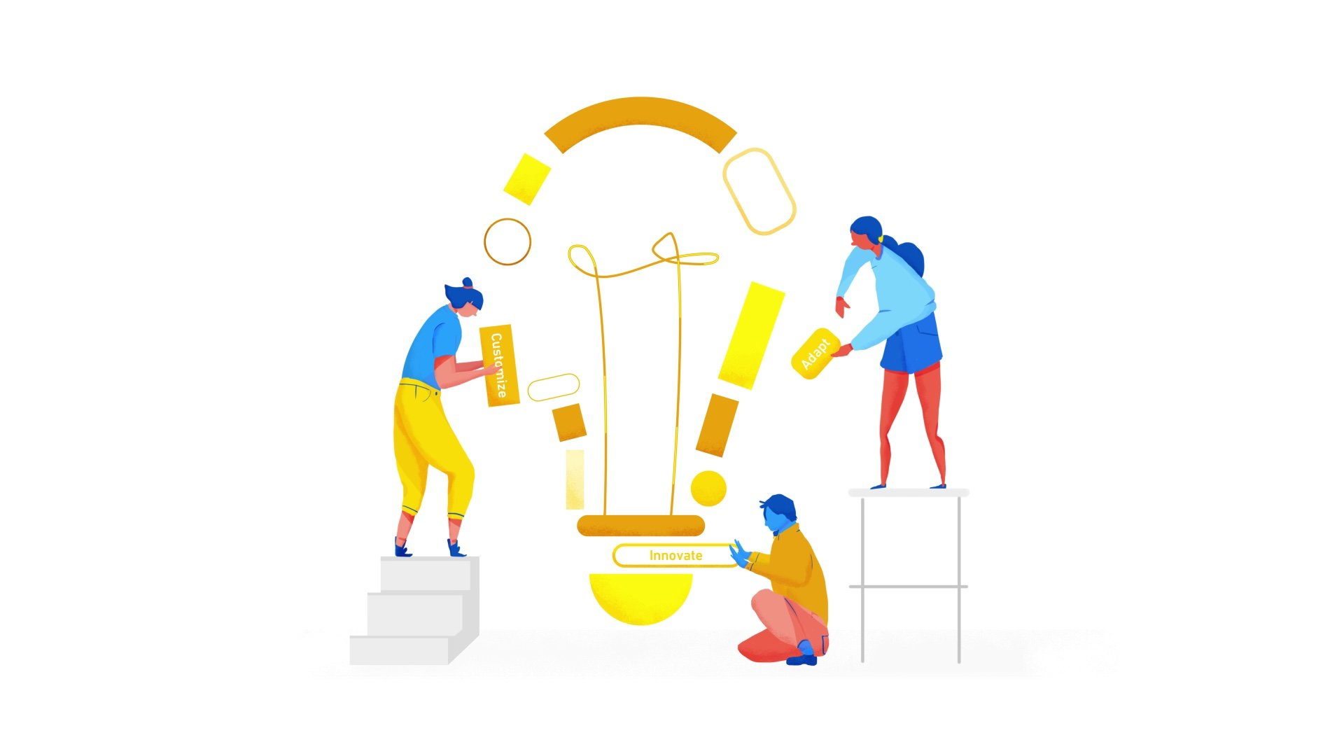 illustration for an animation of Apigee, a Google Cloud Service. It shows a group of people creating an idea together