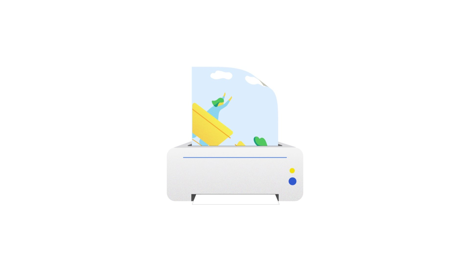 illustration for an animation of Apigee, a Google Cloud Service. It shows a printer