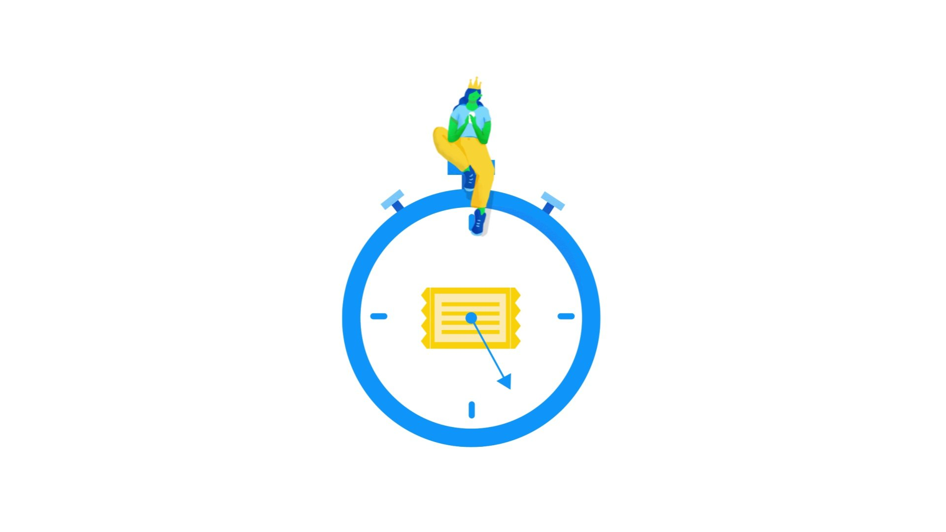 illustration for an animation of Apigee, a Google Cloud Service. It shows a girl on top of a clock