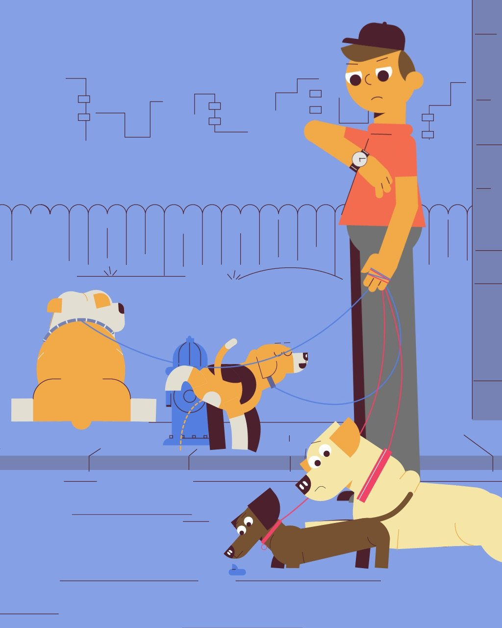 illustration for an explainer video animation made for Wag, a dog walking service. It shows a dog walker struggling to walk his dog
