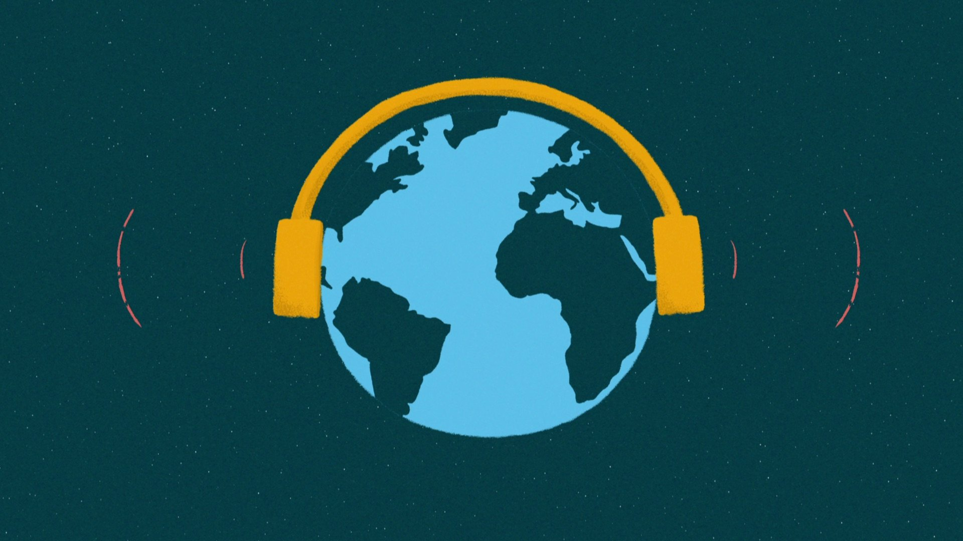 illustration for an explainer video animation for the Incidee app. It shows the world with headphones