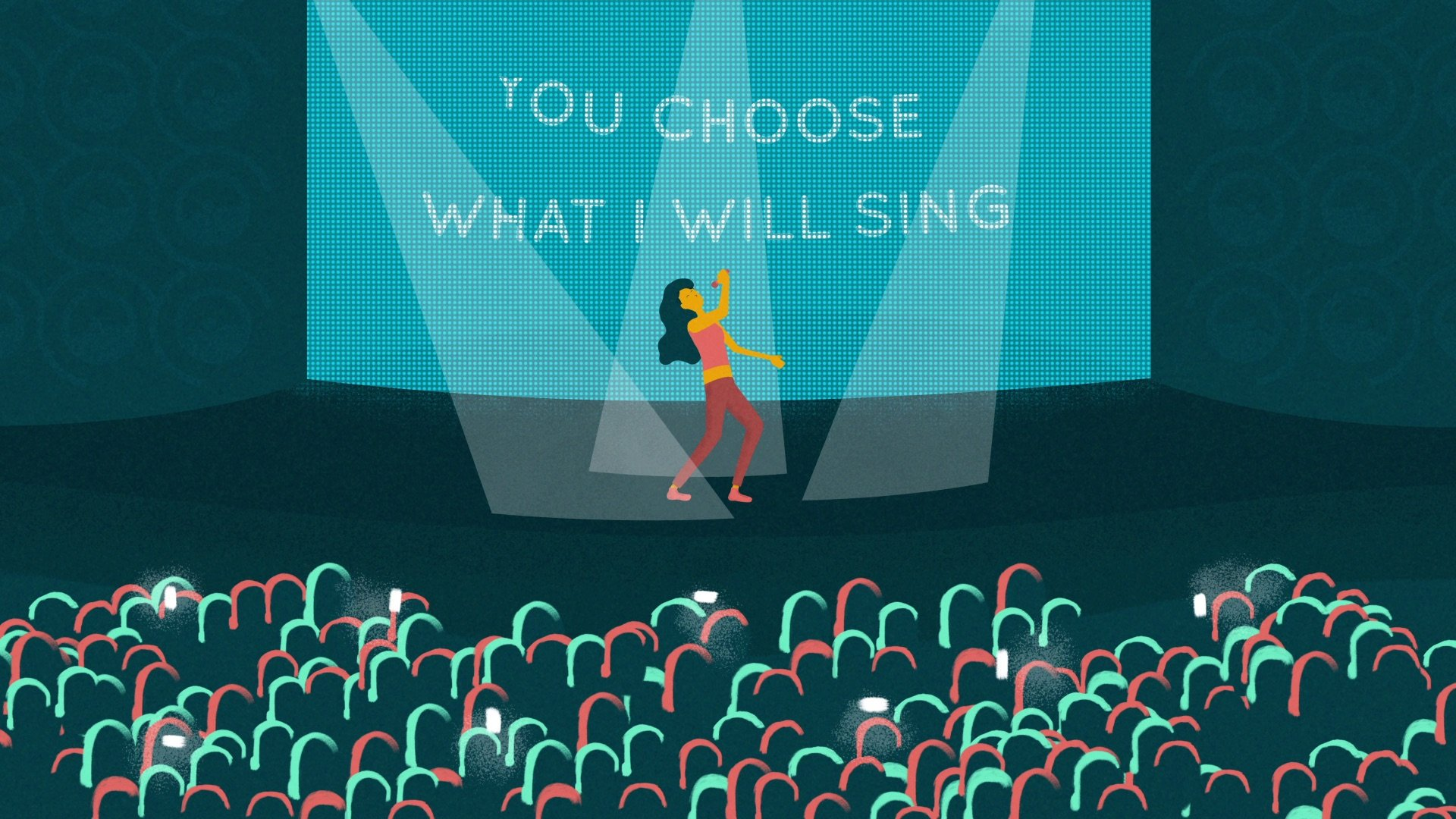 illustration for an explainer video animation for the Incidee app. It shows a singer in the stage