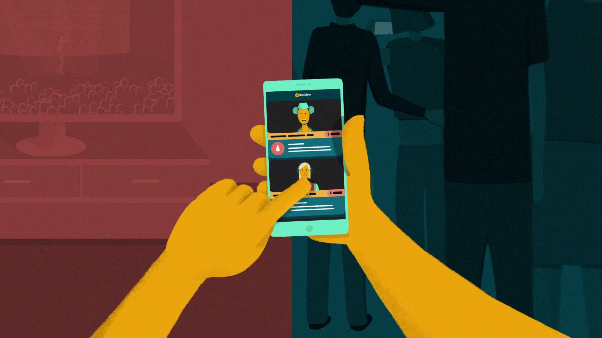 illustration for an explainer video animation for the Incidee app. It shows someone using their cellphone