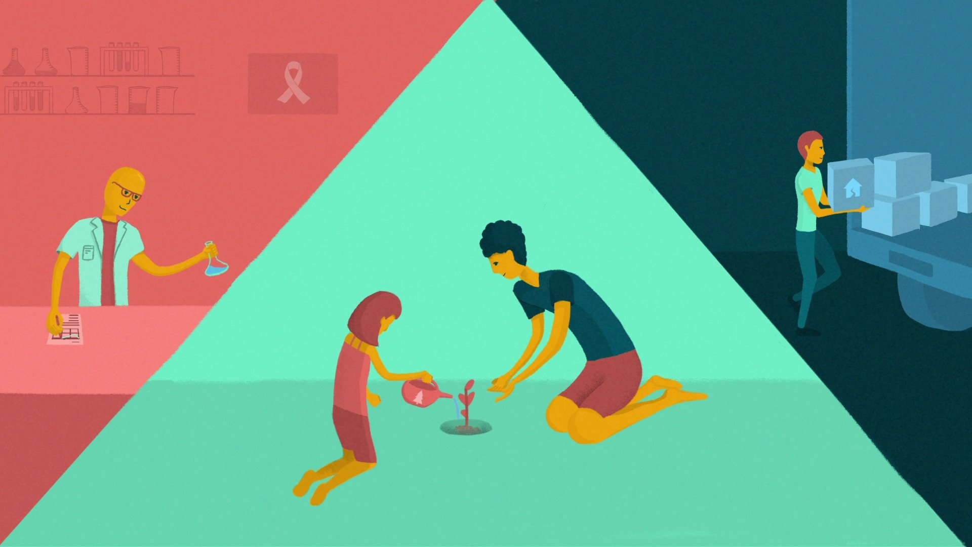 illustration for an explainer video animation for the Incidee app. It shows a family planting a tree