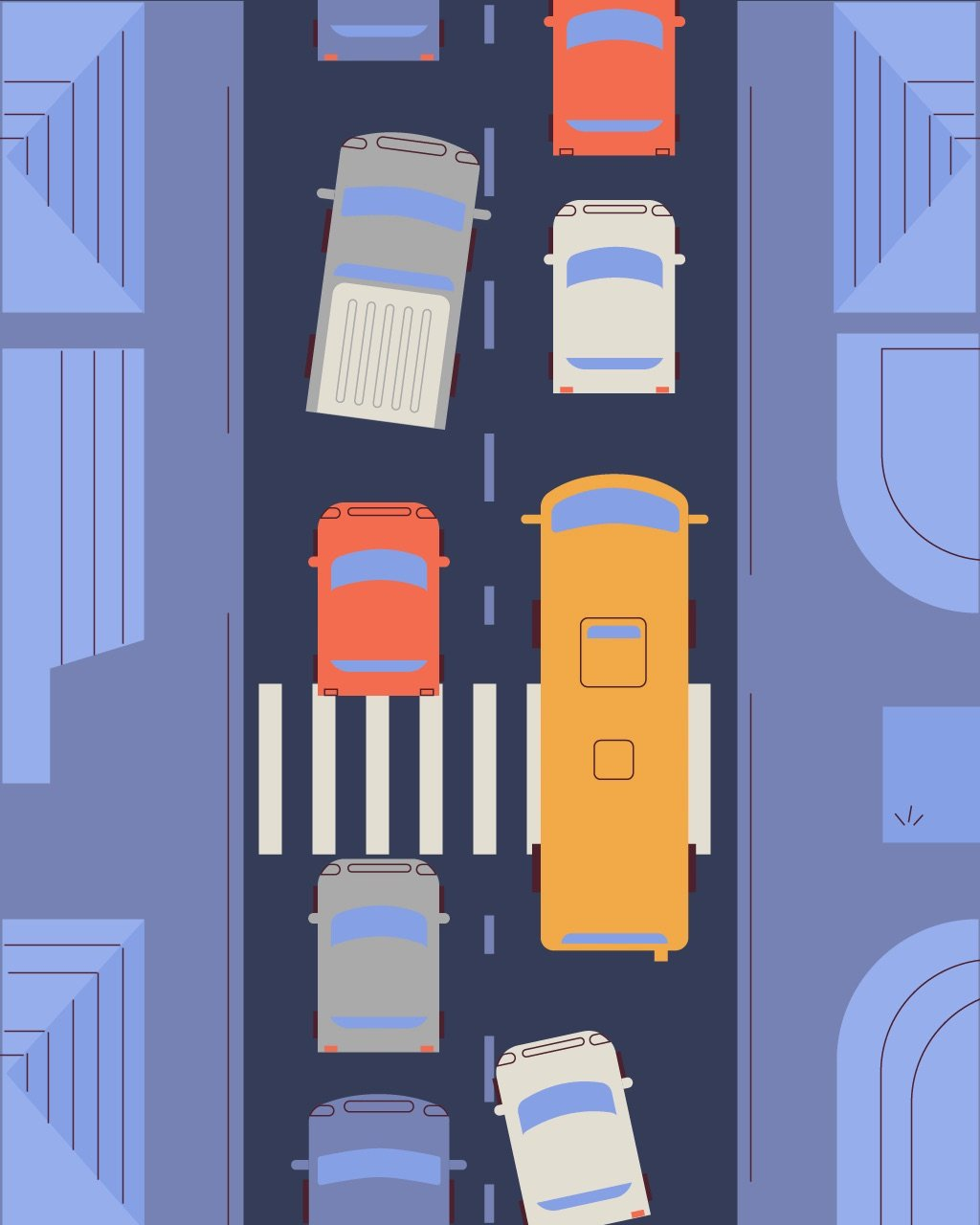 illustration for an explainer video animation made for Wag, a dog walking service. It shows a traffic jam