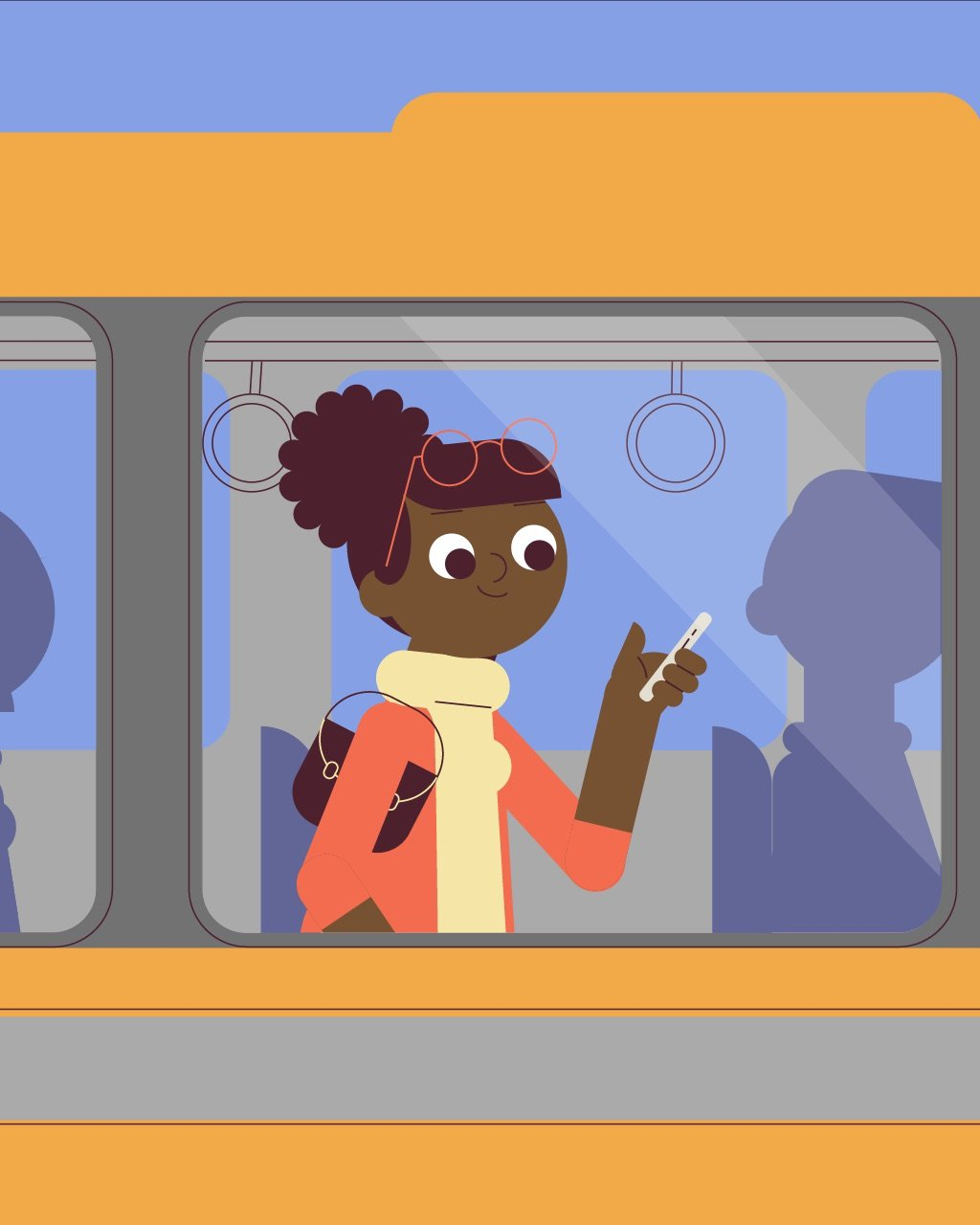 illustration for an explainer video animation made for Wag, a dog walking service. It shows a woman in the bus looking at her phone