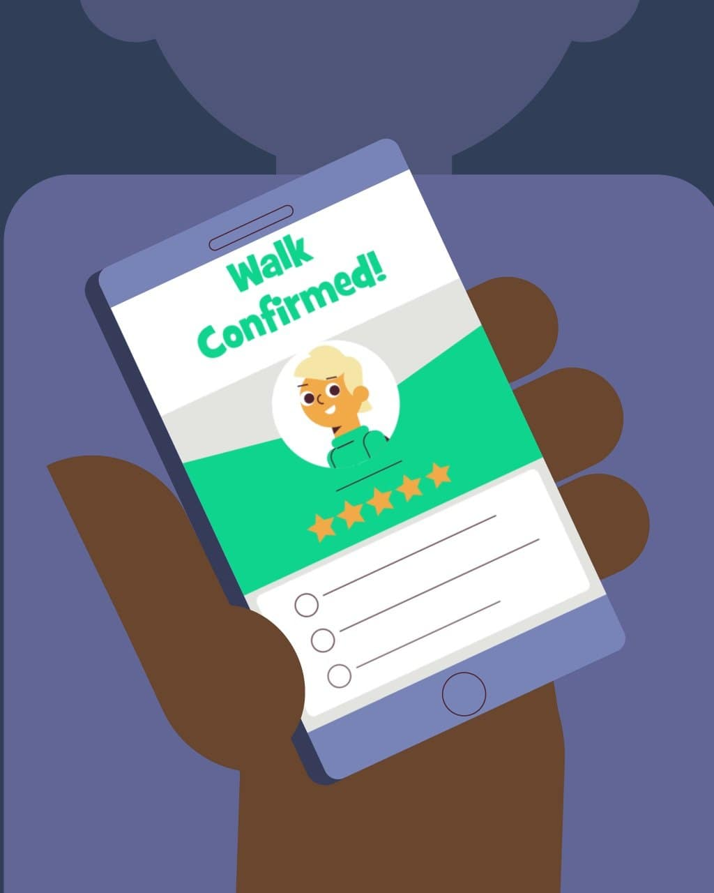 illustration for an explainer video animation made for Wag, a dog walking service. It shows someone using Wag's service through their app