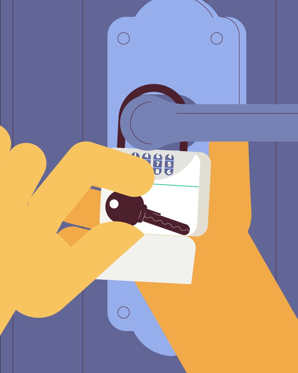 illustration for an explainer video animation made for Wag, a dog walking service. It shows someone holding a key in front of a door