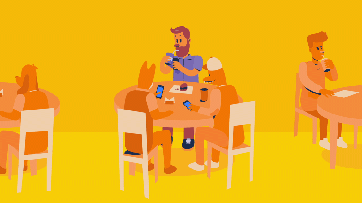 illustration for an animated explainer video of an app, showing 3 people paying their bills on their cellphone