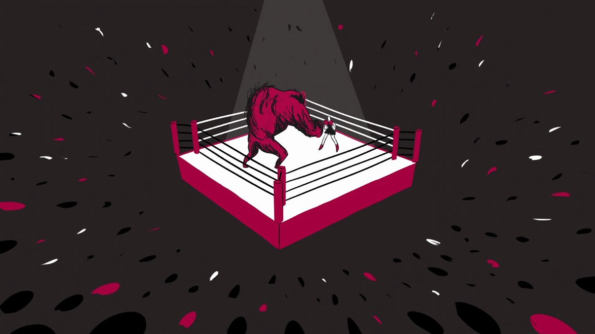 still image from the animation called Can't Beat Me. It shows two people fighting in a boxing rink