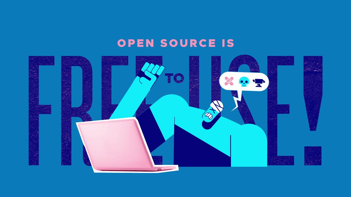 illustration for a video about Open Source, by Iluli. It shows an injured person complaining