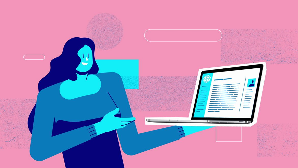 illustration for a video about Open Source, by Iluli. It shows a woman holding a laptop
