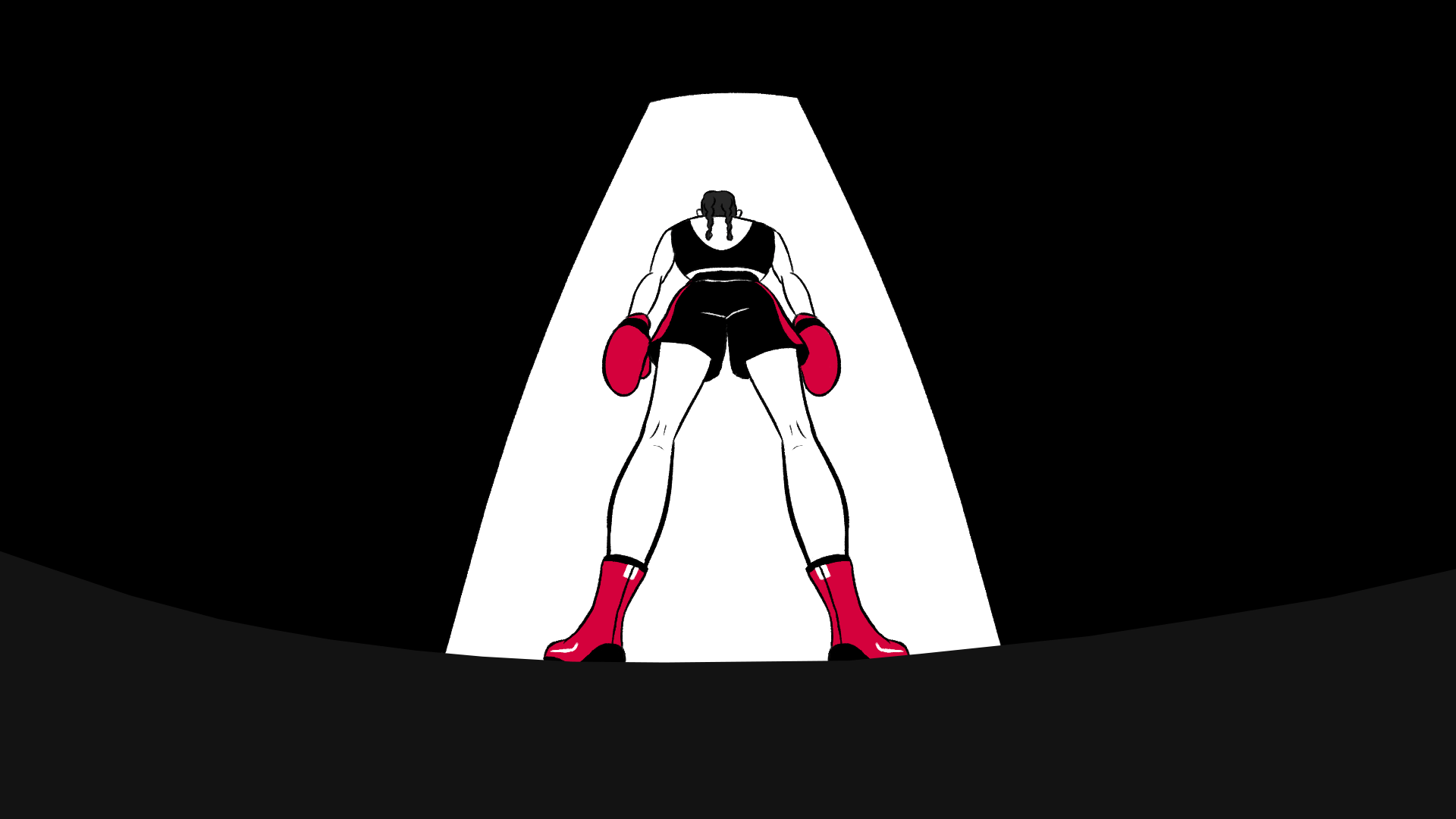 illustration showing a female boxing entering the rink