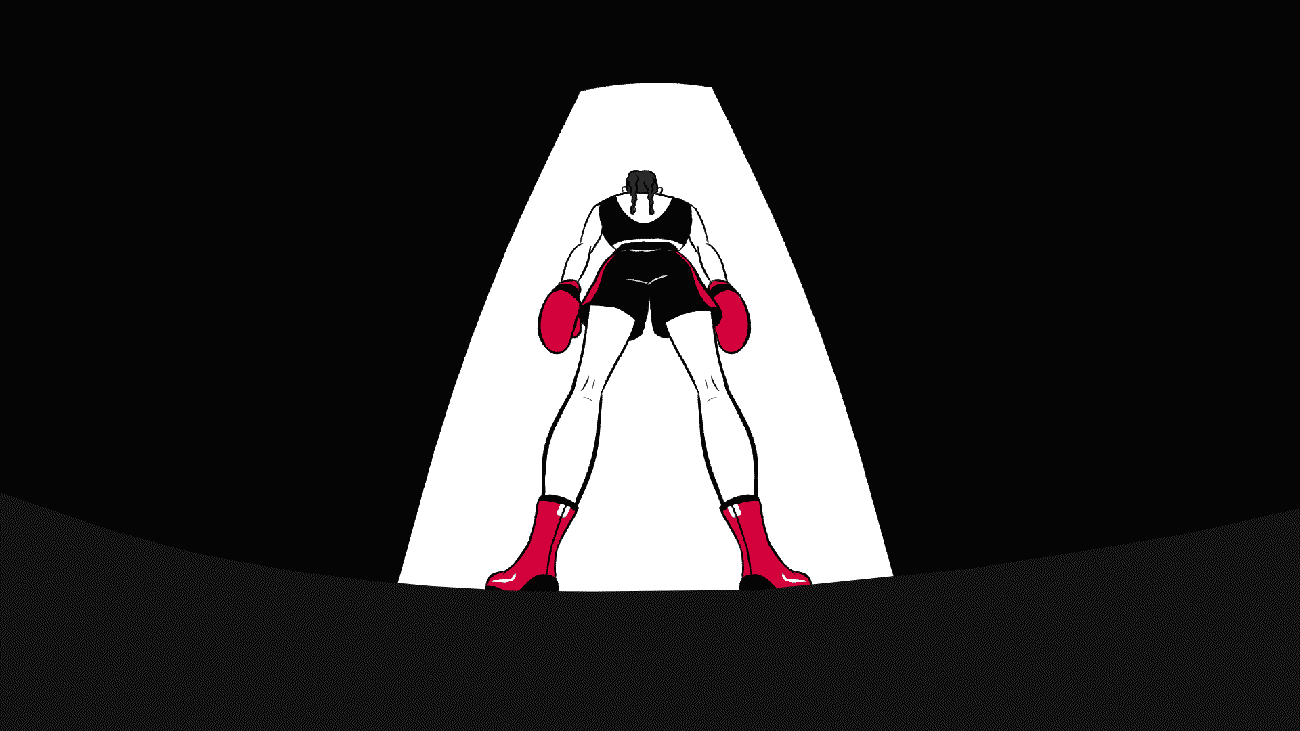 still image from an animation about boxing called Can't Beat Me. It shows a woman waiting to enter the ring
