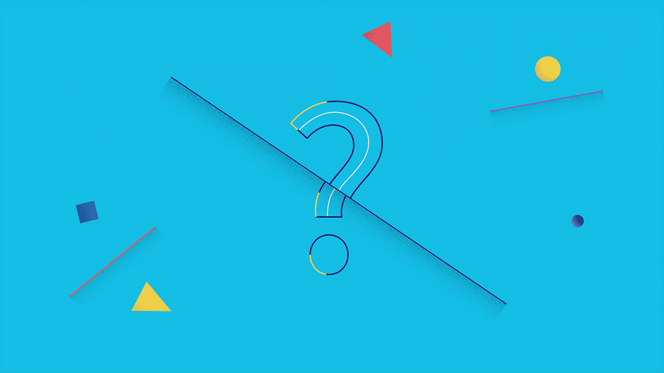 illustration for the motion graphics article showing a question mark