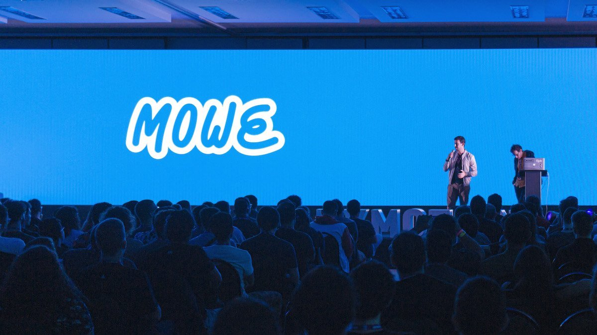 Photo of the Anymotion Festival 2019 stage, where MOWE's presenting the video's concept