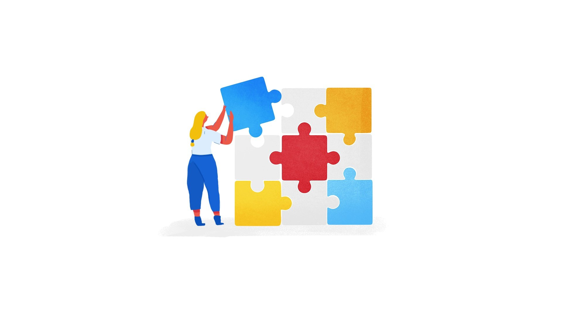 illustration for an animation of Apigee, a Google Cloud Service. It shows a girl putting the last piece of a puzzle in its place