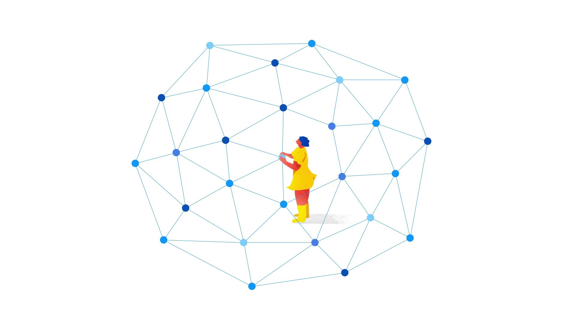 illustration for an animation of Apigee, a Google Cloud Service. It shows a girl in a network
