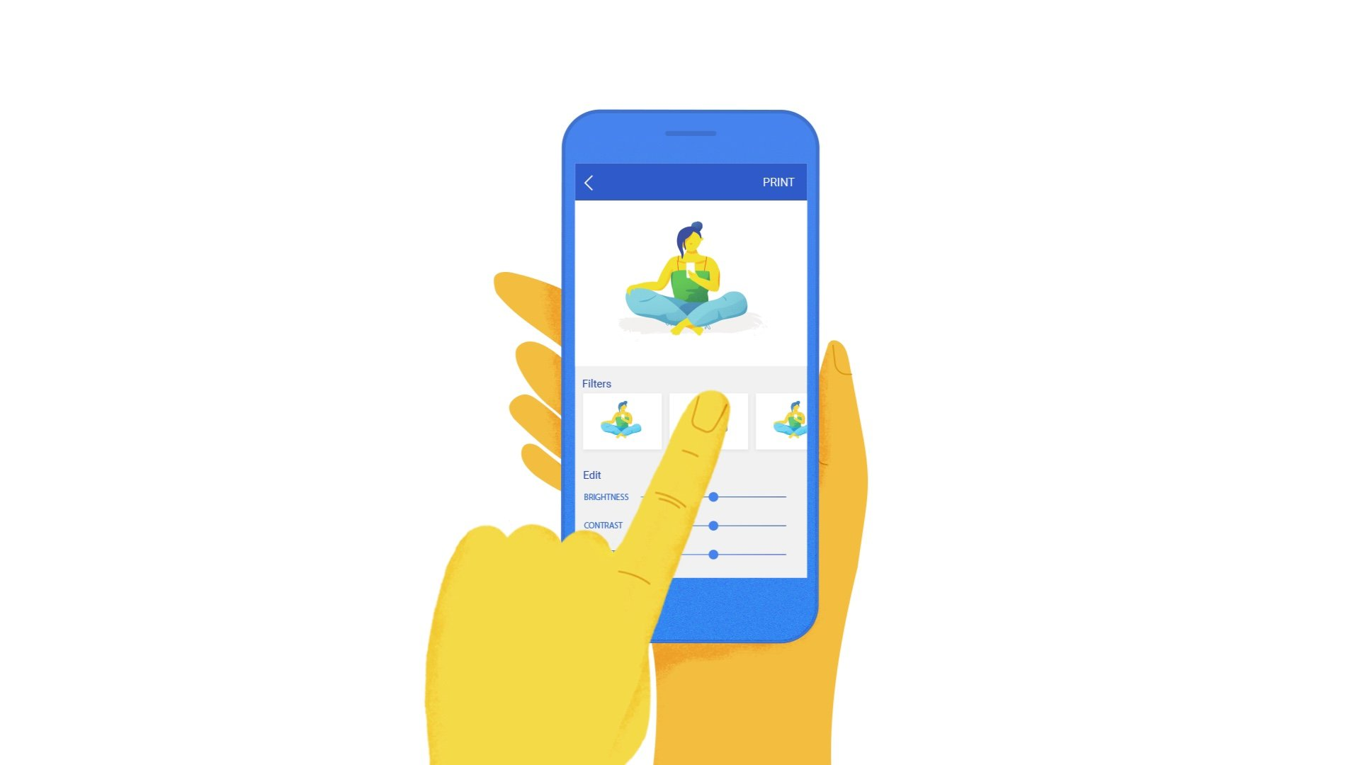 illustration for an animation of Apigee, a Google Cloud Service. It shows a person using a cellphone