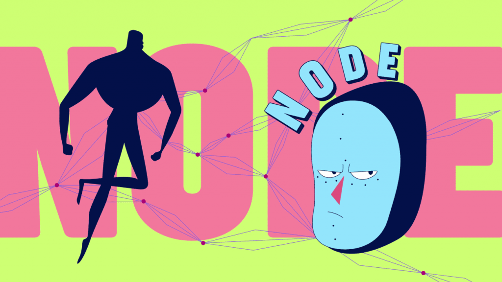 screenshot of a scene from our video Anymotion 2019 Opening Title. It shows the character Node