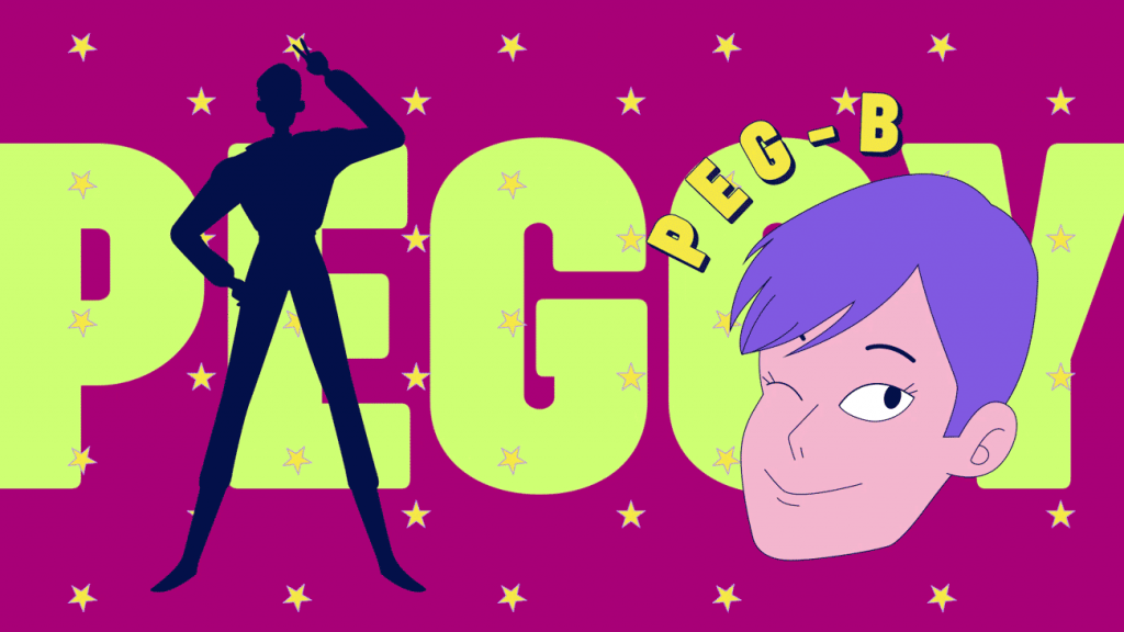 screenshot of a scene from our video Anymotion 2019 Opening Title. It shows the character Peg-B