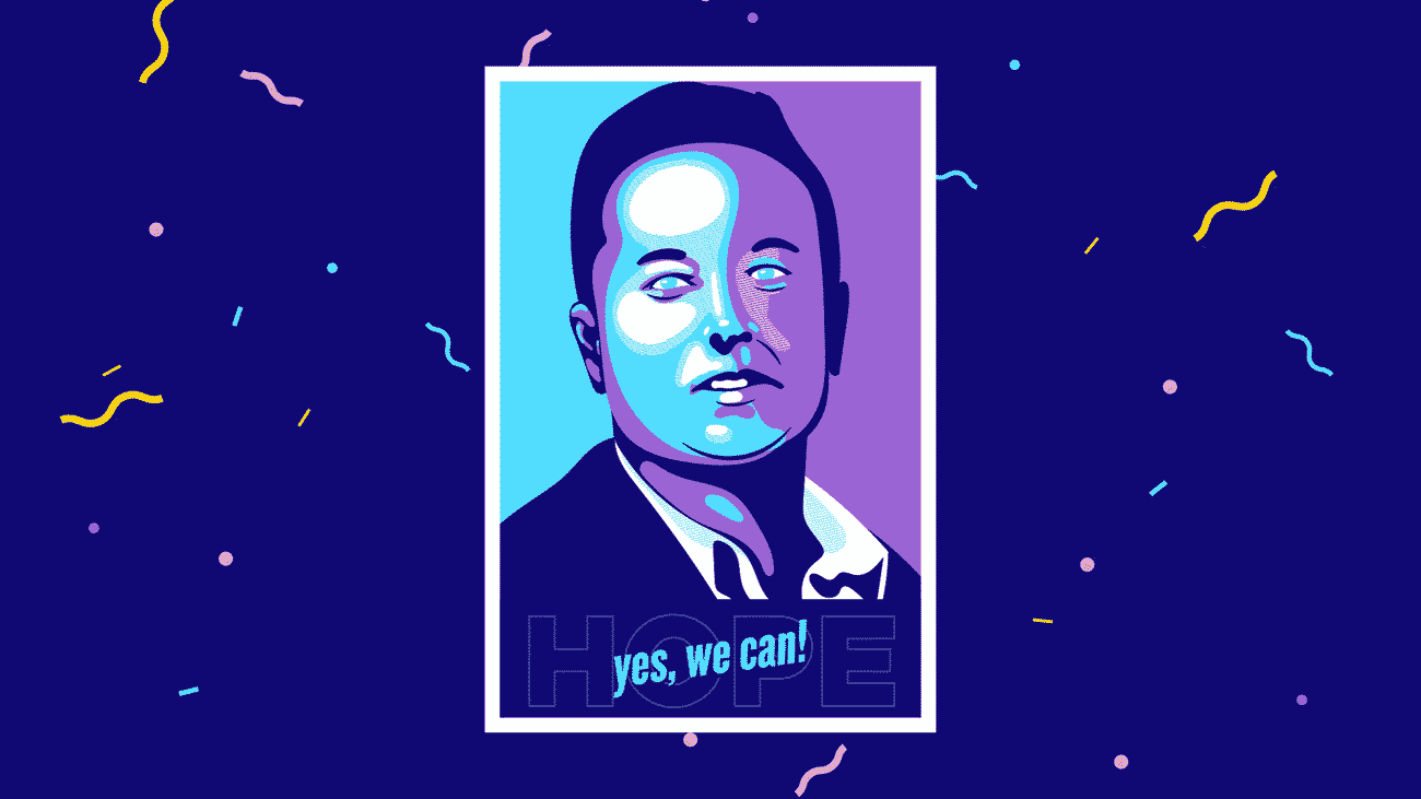 illustration of a graphic poster showing Elon Musk and saying