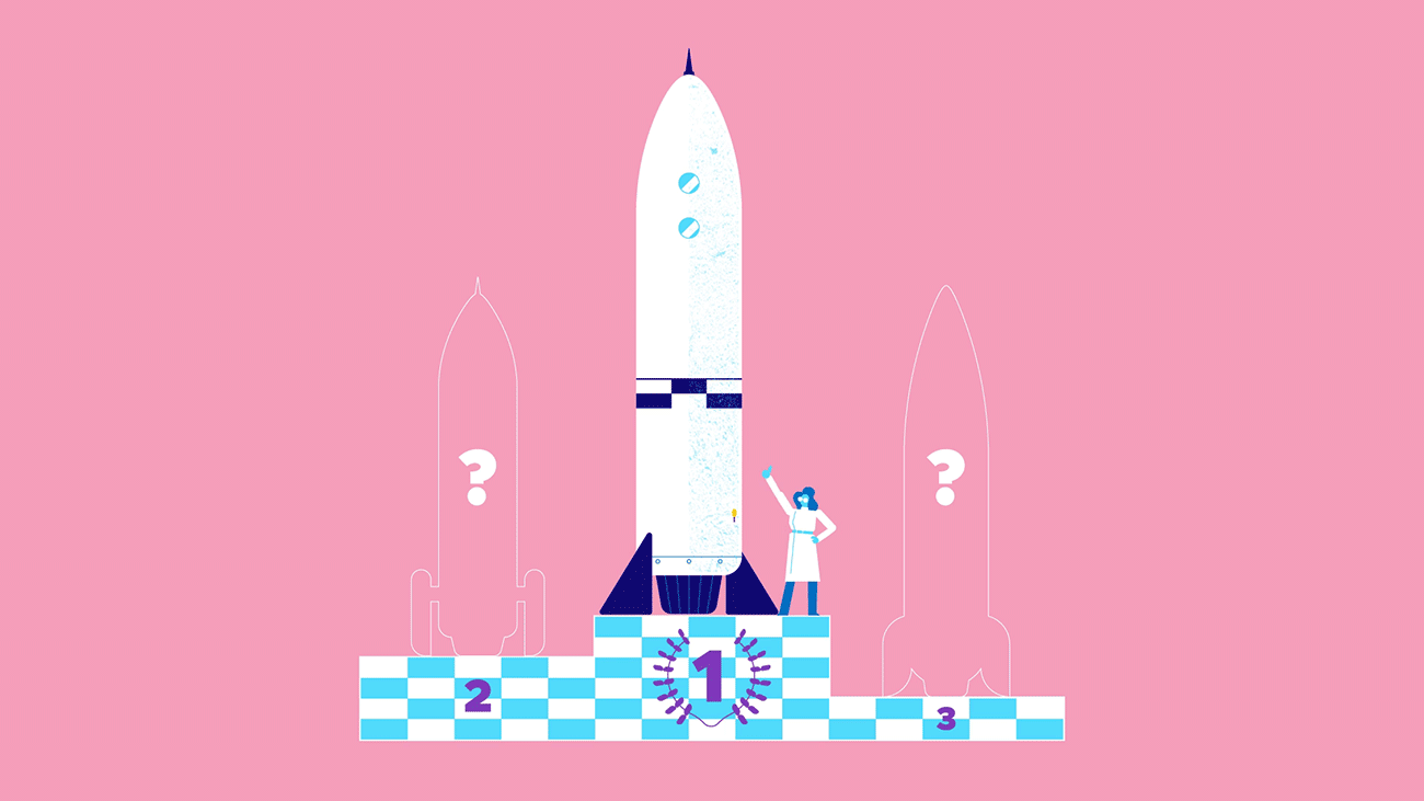 animation illustration of a scientist giving a medal to a rocket