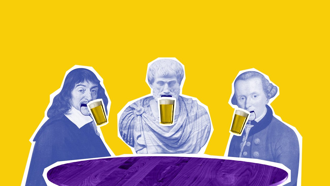 illustration of aristotle, kant and descartes drinking beer and discussing