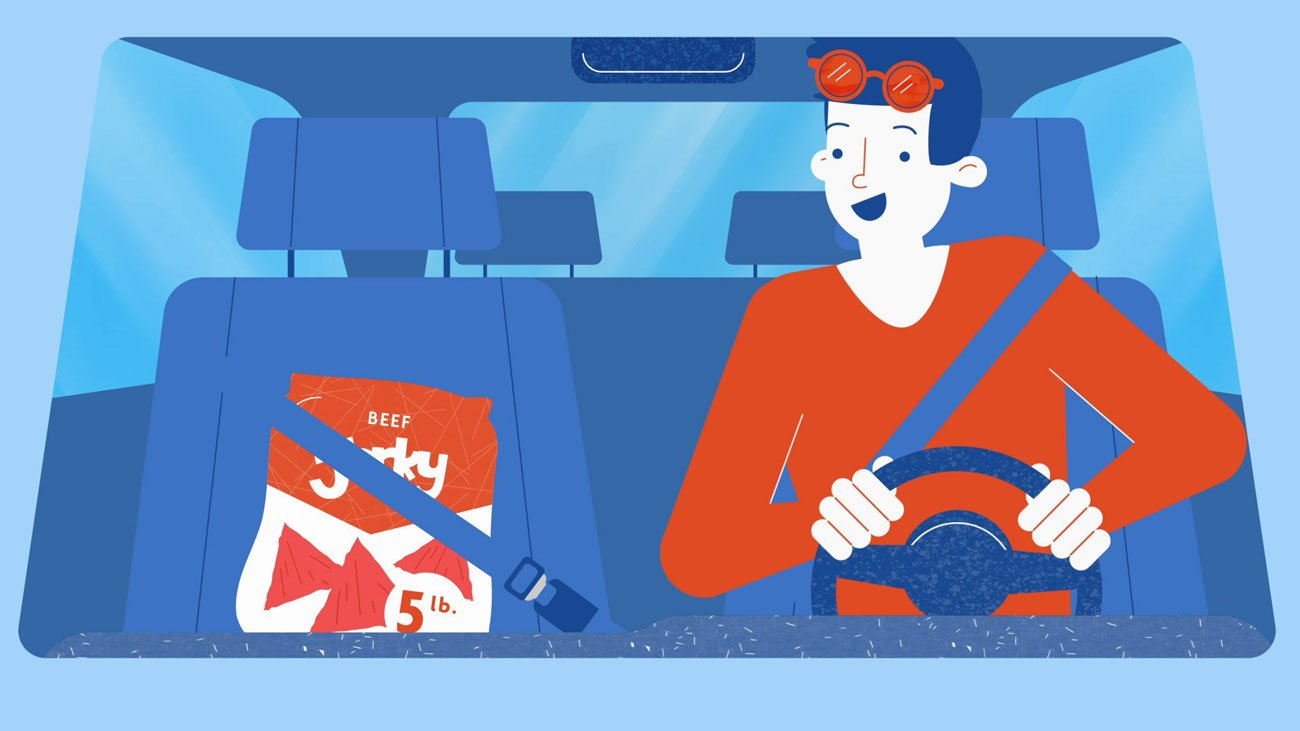 Illustration for a series of Geico's explainers videos. It shows a man driving