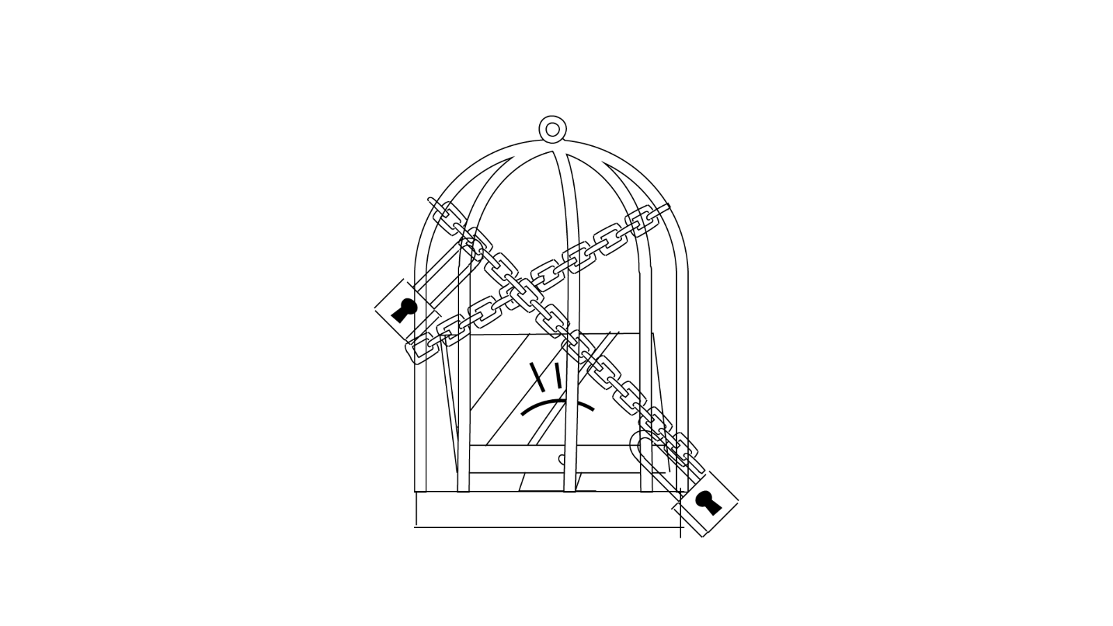 Sketch for a video about Open Source, by Iluli. It shows a computer in a cage
