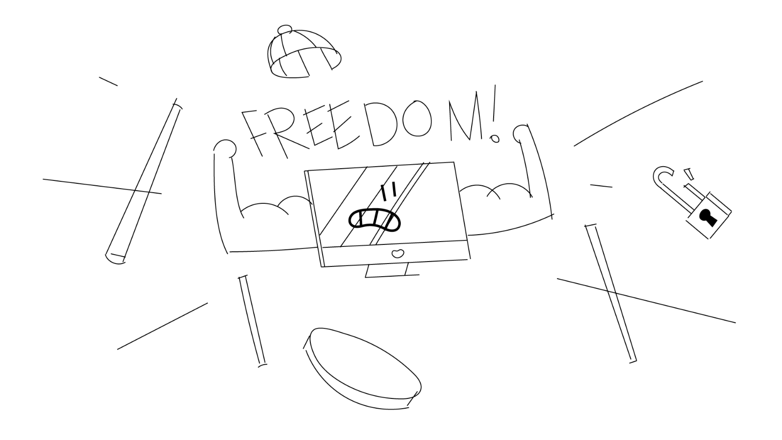Sketch for a video about Open Source, by Iluli. It shows a computer breaking from a cage and the word
