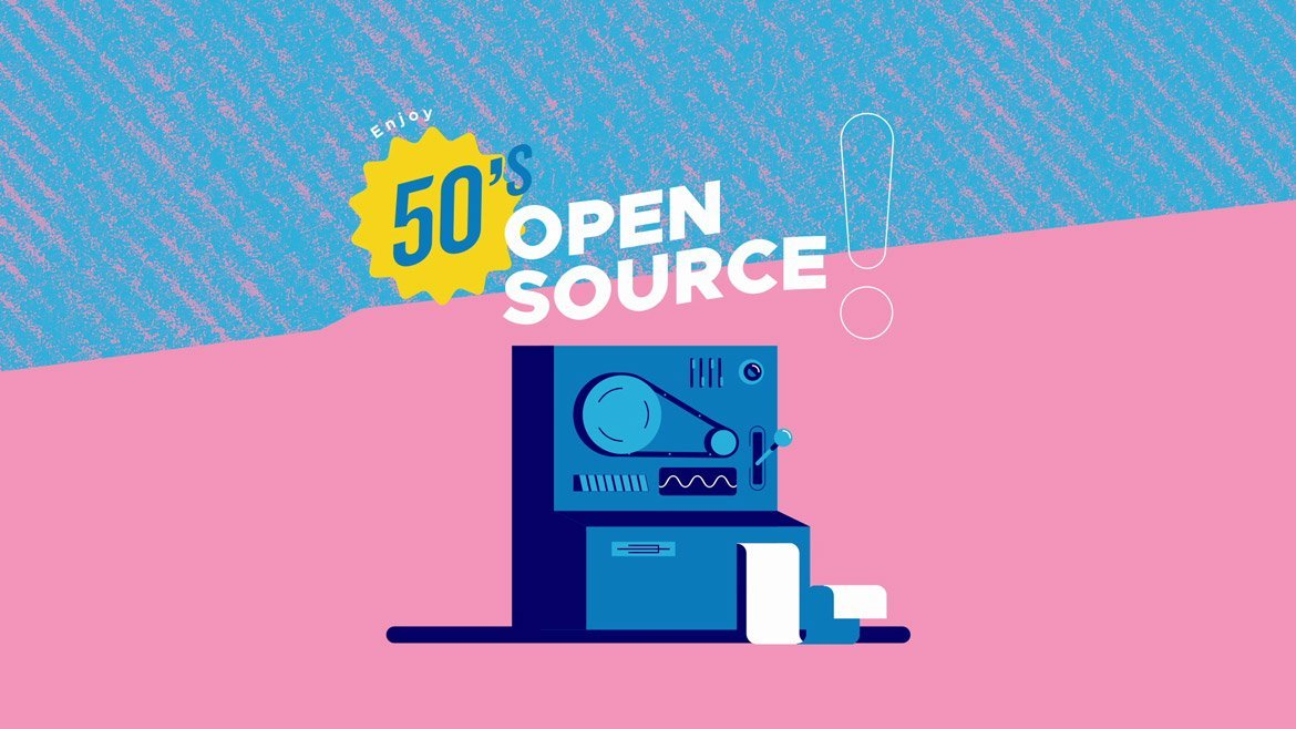 illustration for a video about Open Source, by Iluli. It shows an open source machine from the 50's