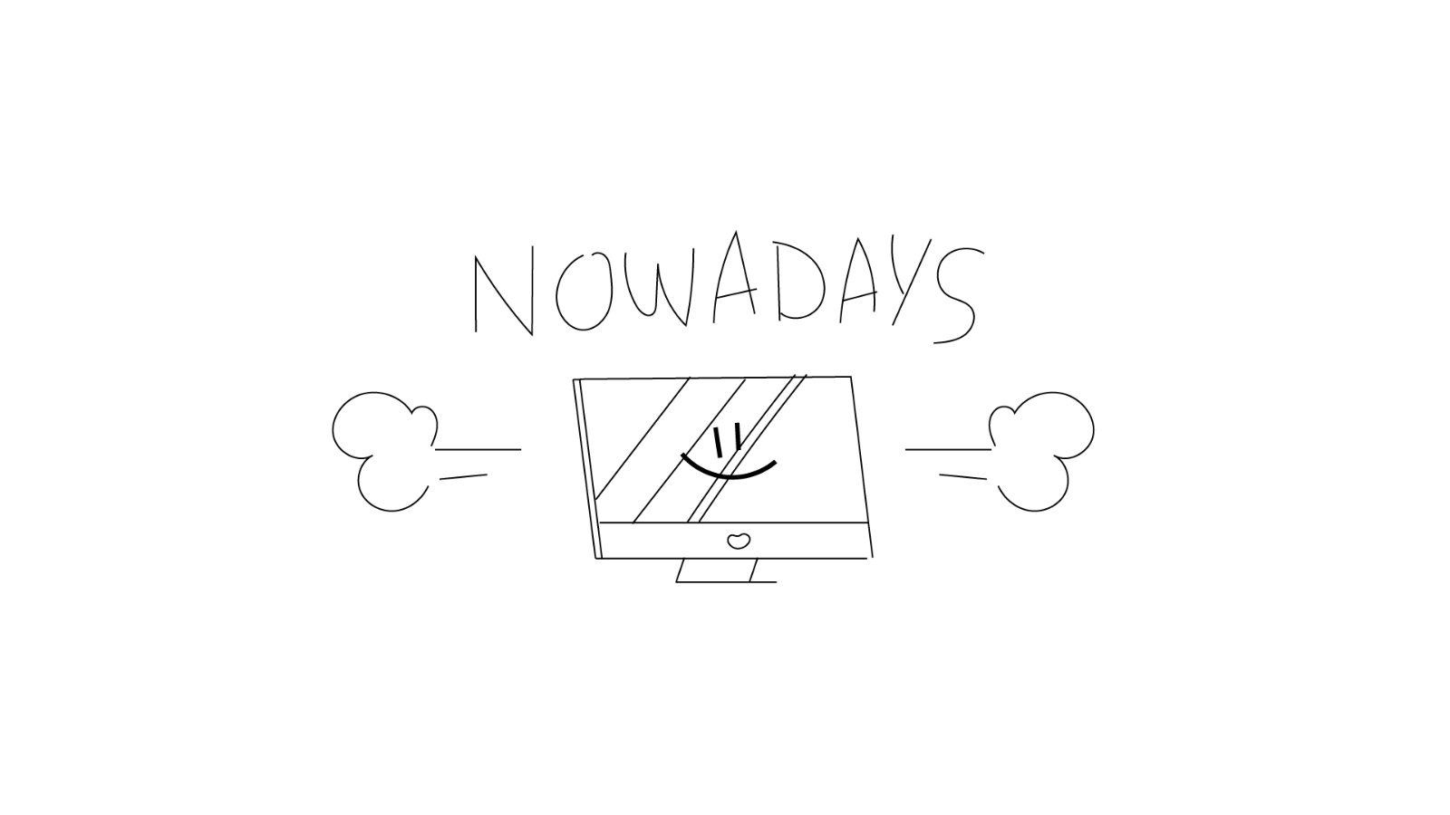 Sketch for a video about Open Source, by Iluli. It shows a computer nowadays