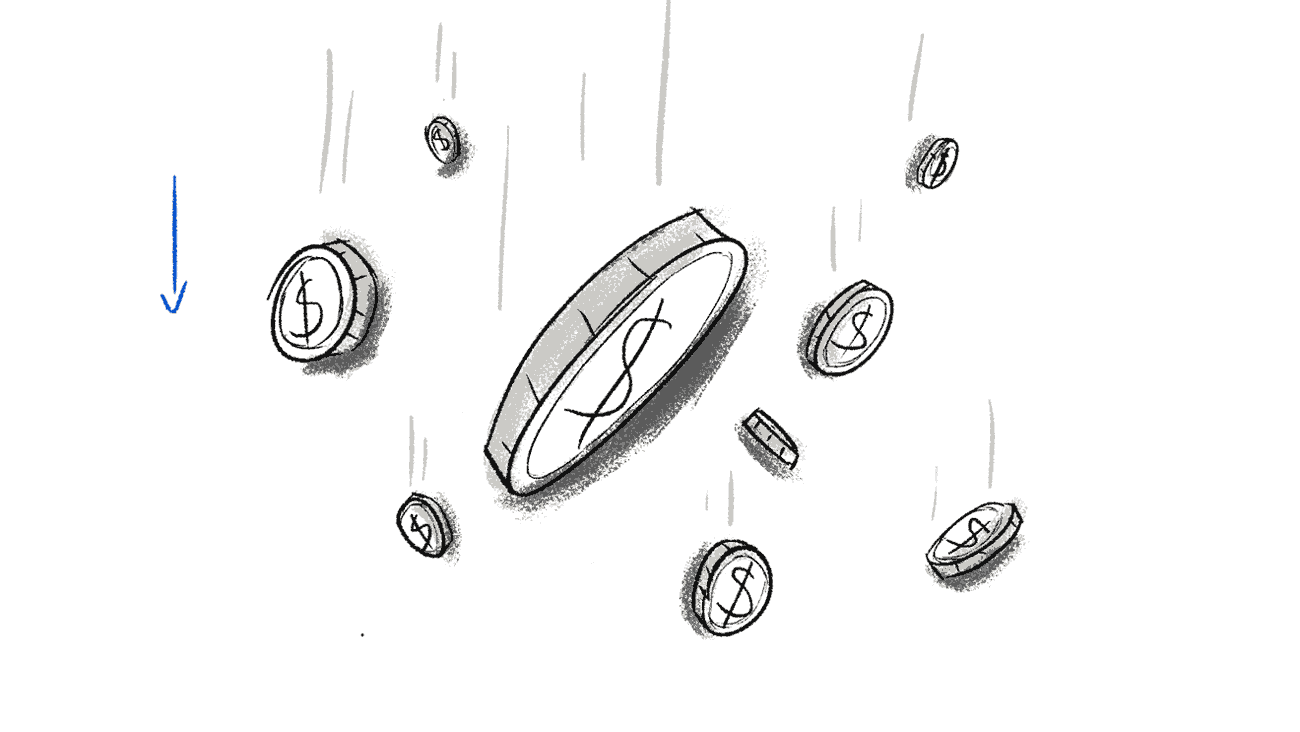 Sketches for a OrderMyGear explainer video. It shows coins falling