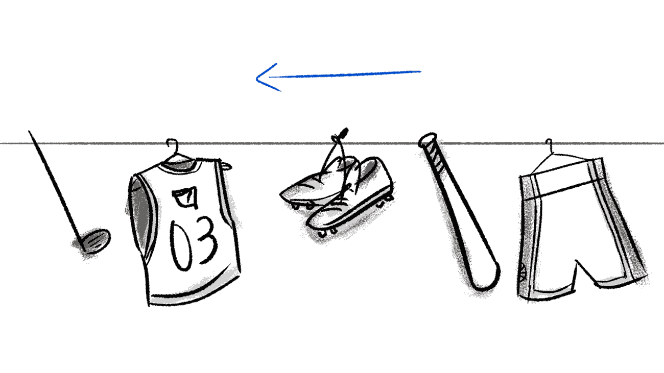 Sketches for a OrderMyGear explainer video.