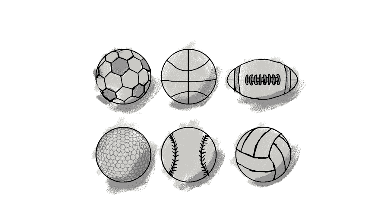 Sketches for a OrderMyGear explainer video. It shows different types of balls for sports