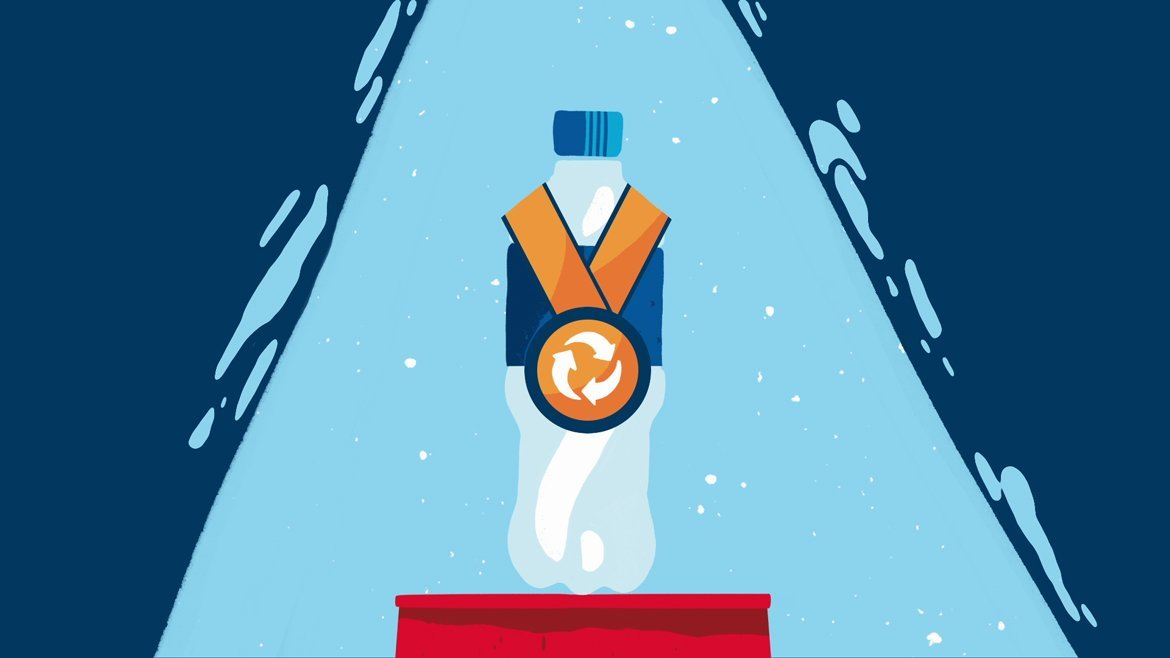 illustration for a video about recycling. It shows a plastic bottle with a medal showing the recycling symbol