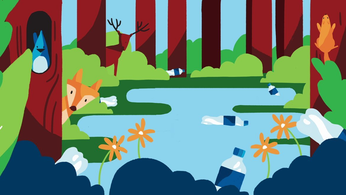illustration for a video about recycling. It shows a forest full of wild animals, and a lake with plastic bottles floating