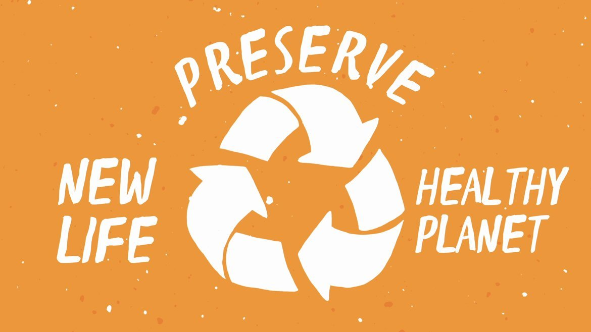 illustration for a video about recycling. It says