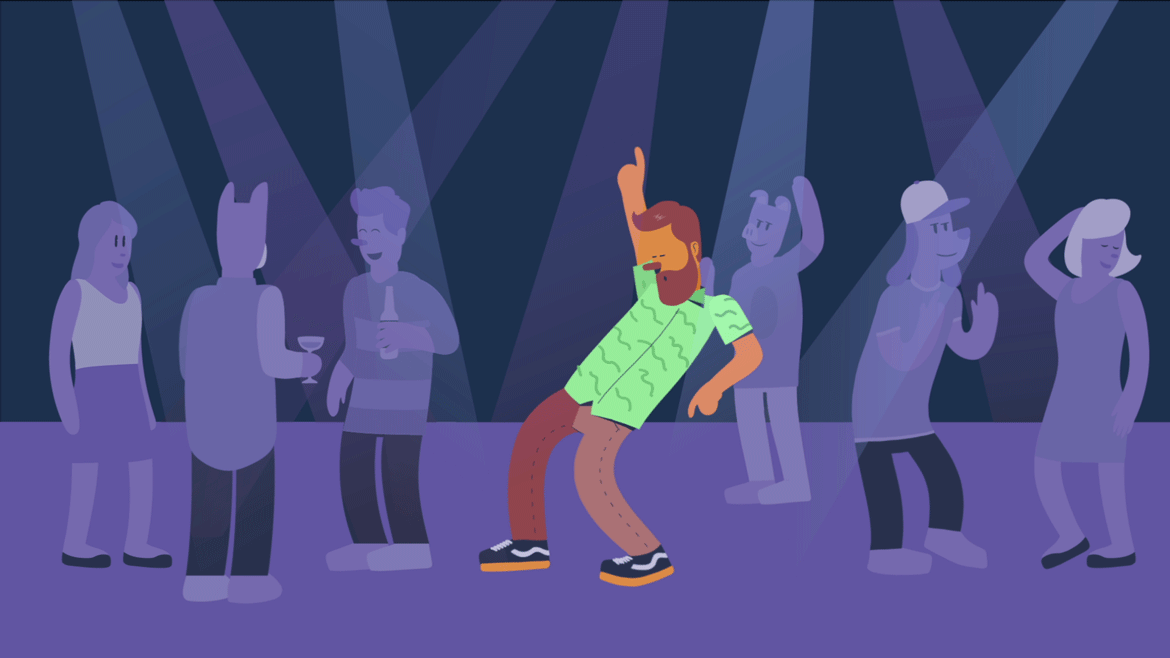 illustration of a man dancing in a nightclub, for an animated explainer video