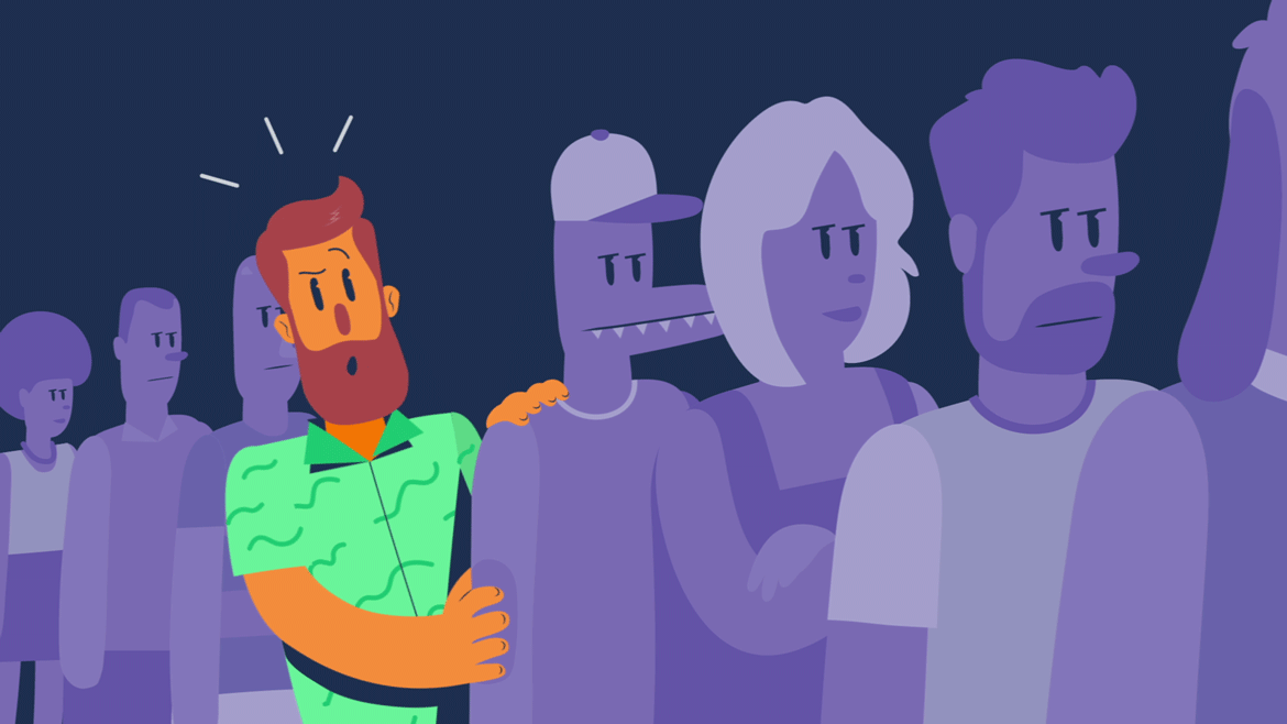 illustration of a man waiting in a line, for an animated explainer video