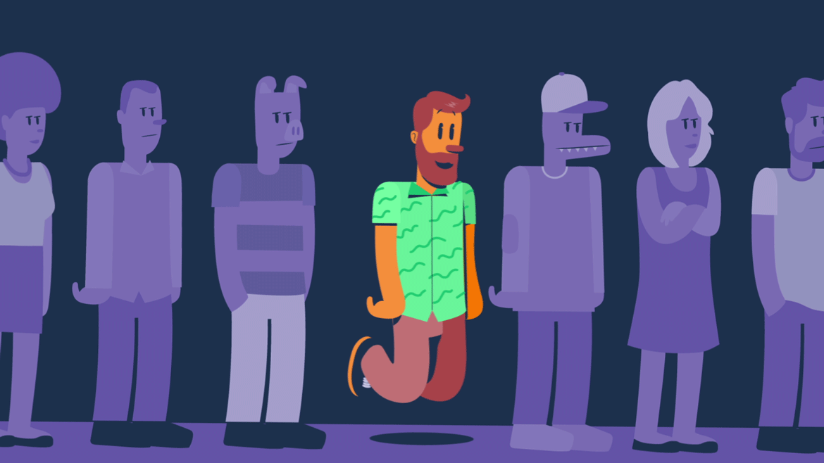 illustration for an animated explainer video of an app, showing a man on a line, floating