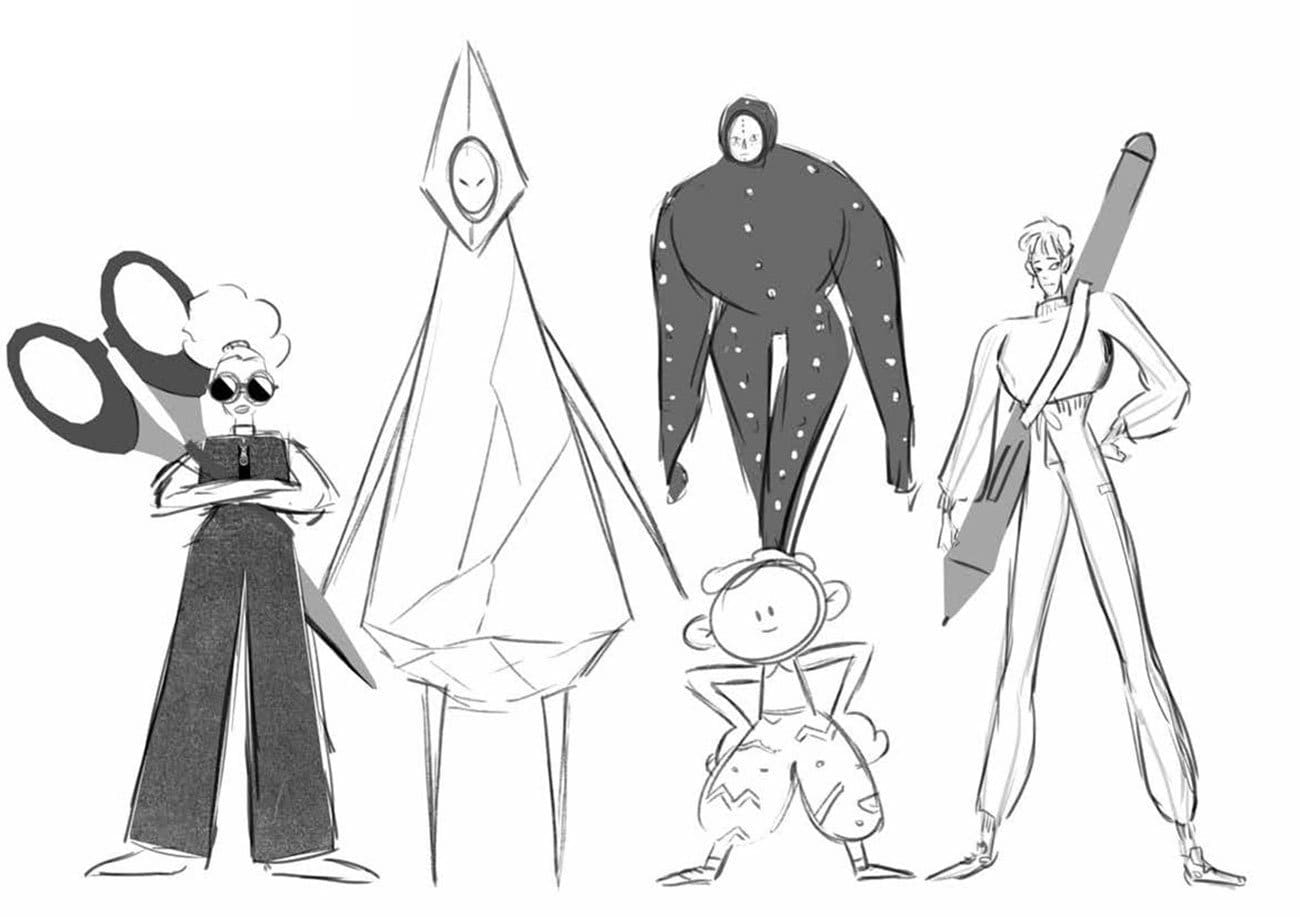 initial sketch for the whole team of our Anymotion Opening Title Video