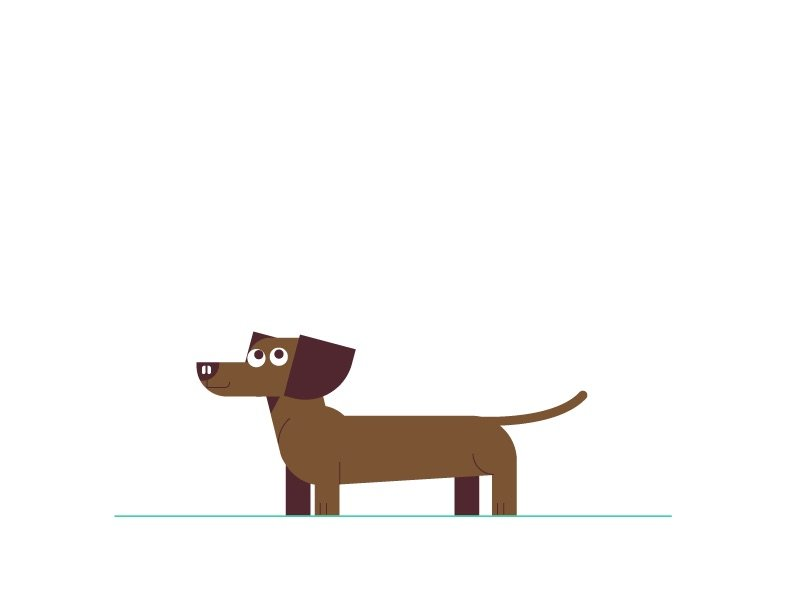 illustration for an explainer video animation made for Wag, a dog walking service. It shows a brown Dachshund