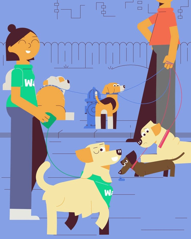 illustration for an explainer video animation made for Wag, a dog walking service. It shows a group of dogs and a dog walker