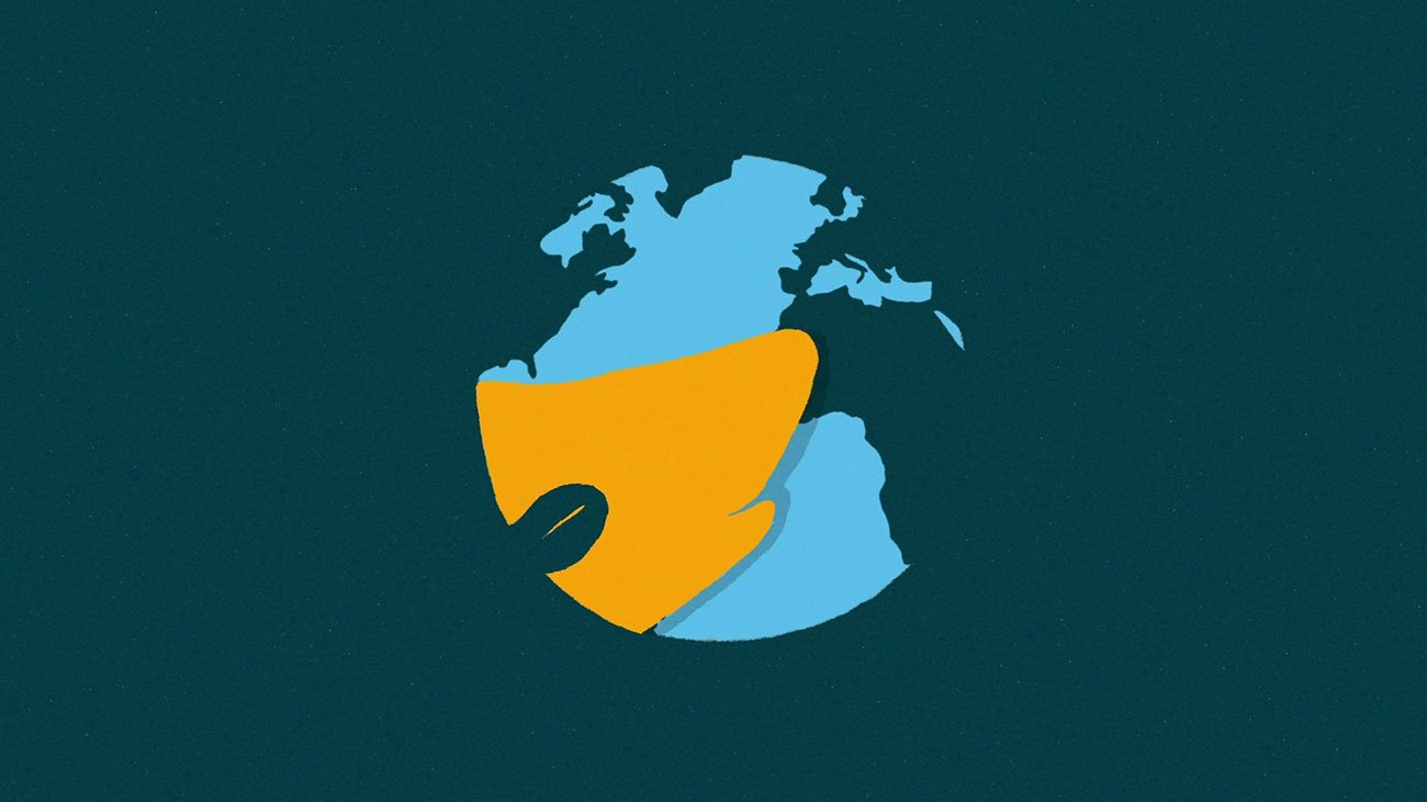 illustration for an explainer video animation for the Incidee app. It shows the world transformind into the company's logo