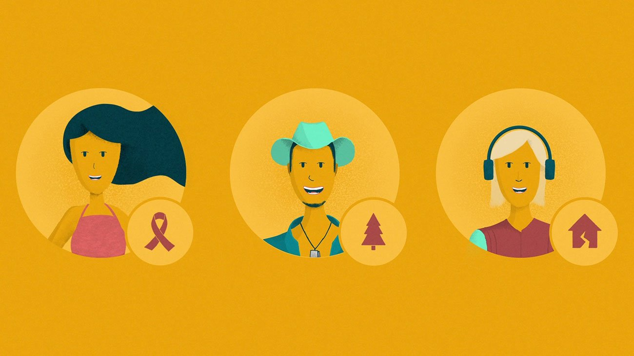 illustration for an explainer video animation for the Incidee app. It shows three types of singers