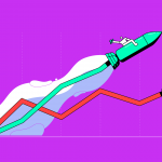 illustration showing a man flying in a rocket through a line graph