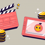 Illustration of a clapperboard and a drawing tablet side by side